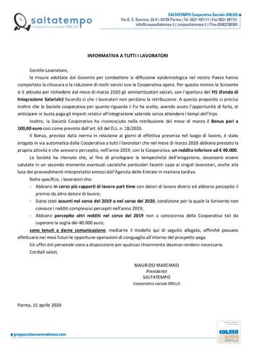 Informativa per FIS e Bonus 2020 Saltatempo